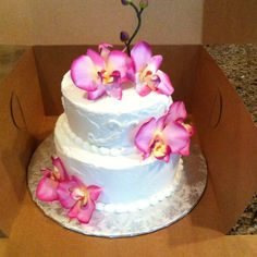 A wedding cake for a small party.