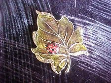 $15 Vintage Miniature Metal Ladybug on Leaf with Rhinestones Brooch Pin  Marked