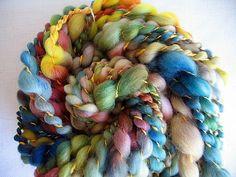 Handspun Yarn  Kaleidoscope  Super Wash Merino by EnchantedYarn, $11.00