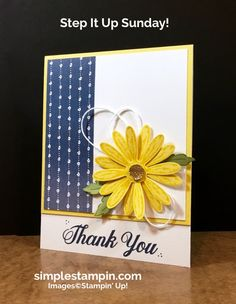 """Good Morning…here is a bit of sunshine for your Sunday morning with a bit of fun new bling with the Gold Faceted Gems. For the """"stepped up"""" this week I decided to change the orientation to a vertical card and the cut off 1″ of the bottom of the front of the …"""