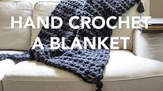 hand stitch thick yarn blanket - YouTube