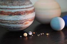 The Solar System & Major Moons (1:700,000,000)