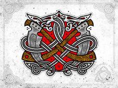 "Two scythe and snakes (Game ""Darksiders II: Death of Lives"" is dedicated) - vector graphics in CorelDraw, workflow 🤘🔥Косы и змеи (Игре ""Darksiders II: Death Lives "" посвящается 🤘🔥 векторная графика ) Celtic Tattoos, Viking Tattoos, Celtic Symbols, Celtic Art, Dark Siders, Skyline Tattoo, Dragon Silhouette, Viking Art, Viking Woman"