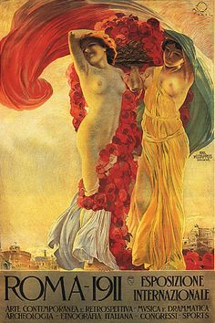 Italy Rome 1911 Roma Art Exhibition Nude Girl Woman Vintage Poster Repro Large | eBay