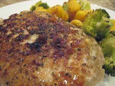 Garlic and Herb Pork Chops:  3 TBSP olive oil, divided  4 center cut loin chops,  salt and pepper, to taste,  2 cloves garlic, minced,  1/2 tsp. dried sage,  1/2 tsp. dried oregano,  1/2 tsp. dried thyme