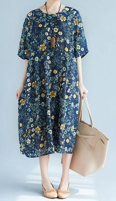 Women loose fit plus over size dress retro flower floral tunic casual trendy #unbranded #AnyOccasion
