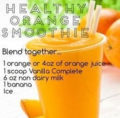 Healthy Orange Smoothie with Juice Plus+ ~ Juice Plus+ Complete available at www. - Juice plus & Shred 10 - Orange Juice Smoothie, Juice Plus+, Blackberry Smoothie, Juicy Juice, Juice Fast, Fruit Juice, Protein Smoothie Recipes, Breakfast Smoothie Recipes, Healthy Smoothies