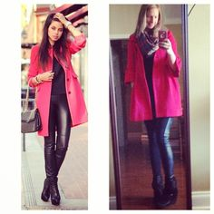 Red pea coat + black shirt + blanket scarf + leather leggins + black booties // goodwill // tjmaxx // #pinneditthriftedit