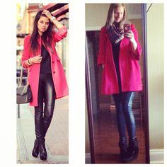 Red pea coat + black shirt + blanket scarf + leather leggins + black booties // goodwill // tjmaxx // #pinneditthriftedit