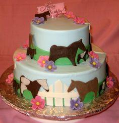 round fondant horse cake