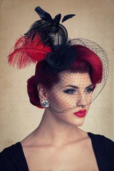 cute fascinator hat with birdcage veil