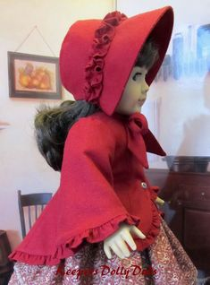 1850s Ruffled Silk Noil Bonnet and Jacket | An Original KeepersDollyDuds Design.