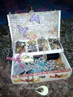 Decoupage a jewelry box inside.