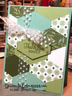 Sep 2019 - Featuring the Garden Lane DSP and the Polka Dot Tulle Tibbon. Fancy Fold Cards, Folded Cards, Patchwork Cards, Card Making Templates, Masculine Birthday Cards, Paper Cards, Cards Diy, Stamping Up Cards, Card Patterns