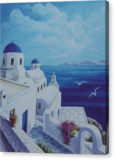 Santorini Blue Canvas Print by Helidon. All canvas prints are professionally printed, assembled, and shipped within 3 - 4 business days and delivered ready-to-hang on your wall. Choose from multiple print sizes, border colors, and canvas materials. Blue Canvas, Canvas Art, Canvas Prints, Art Prints, Greece Painting, Blue Painting, Greece Drawing, Greece Art, Santorini Greece
