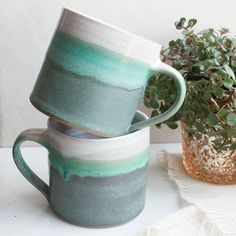 Blue green ombre mugs, reminds me of the mountains