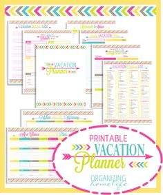 Printables to organize vacation
