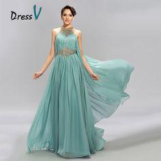 DressV Mint Blue Jewel Neckline Chiffon Long Evening Dress A-Line Floor Length Beaded Ruffles Prom Dresses Formal evening dress Green Formal Dresses, Formal Evening Dresses, Dress Formal, Stunning Dresses, Cute Dresses, Prom Dresses, Grecian Dress, Evening Dresses Online, Buy Dress