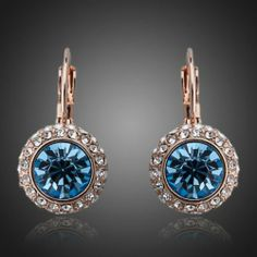 18K Rose Gold Plated with Blue Austrian Stone & Swarovski Studded Hoop Earrings