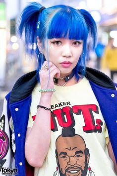 Harajuku Girl w/ Blue Hair, Joyrich Jacket, SEGA Purse, Mr. T & Jeffrey Campbell