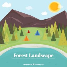 Flat forest landscape background Free Vector