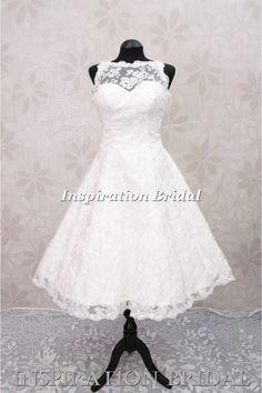 C268 1950s 60s vintage lace short wedding dress
