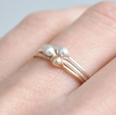 SKINNY 14k solid gold and fine silver stacking rings - set of 3. £60.00