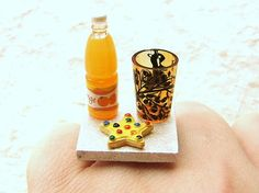 Food Ring Cookie Star Orange Juice Miniature by SouZouCreations, $8.50