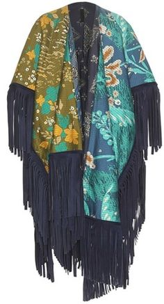 Burberry Prorsum Reversible Printed Cotton And Silk Poncho With Suede Fringe