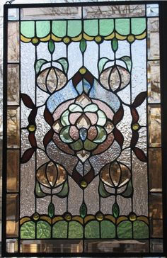 Antique American Stained Glass Window Panel