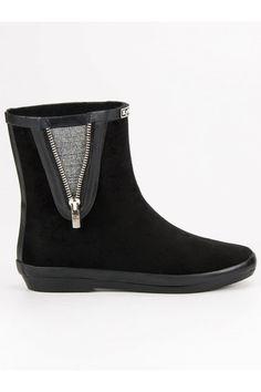 Semišové čierne gumaky s ozdobným zipsom Kylie Kylie, Rubber Rain Boots, Tommy Hilfiger, Shoes, Fashion, Moda, Zapatos, Shoes Outlet, Fashion Styles