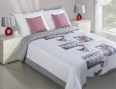 Bielo sivé prehozy na posteľ s motívom SWEET HOME