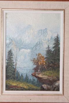 """Artist Signed Oil Painting on Wood Snowcapped Mountain Waterfall """"help with Sig"""""""
