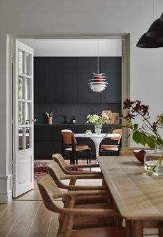 Style: Modern Material for Scandinavian Dining Room: Canvas Subjects: Abstract Type: Canvas Printings Support Base: Canvas Shape: Rectangle Form: Single Frame: No Frame modelDanish Design Home Inspiration 2018 - Nordic Interior Ideas Farmhouse Dining Room Table, Dining Room Table Decor, Dining Room Walls, Living Room Kitchen, Dining Room Design, Room Chairs, Living Rooms, Dining Chairs, Home Interior
