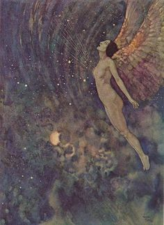 The Angel Israfel from The Raven and Other Poems of Edgar Allan Poe illustrated by Edmund Dulac.