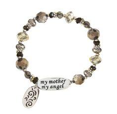 New Alexa's Angels My Mother My Angel Stretch Bracelet Brown Gemstones