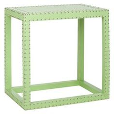 "Nailhead-trimmed end table with open base.   Product: End tableConstruction Material: WoodColor: Light greenDimensions: 23.6"" H x 23.6"" W x 15.7"" D"