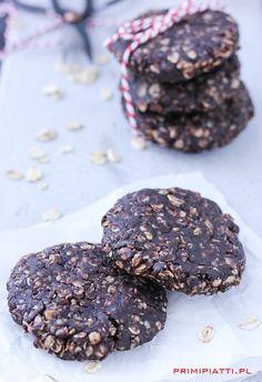 Zdrowe ciasteczka owsiane - bez pieczenia - Primi Piatti Cookies, Chocolate, Desserts, Food, Crack Crackers, Tailgate Desserts, Deserts, Biscuits, Essen
