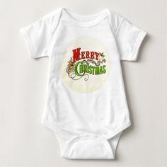 Merry Christmas Vintage Card Slogan Baby Bodysuit - merry christmas diy xmas present gift idea family holidays