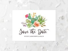 Succulent Save The Date Printable Cactus Save The Date Modern Save The Date Southwestern Wedding Save The Date Coral Flowers Pink Floral 240 by MossAndTwigPrints on Etsy