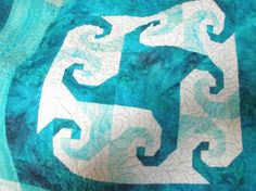 lap or baby quilt  in teals  Caribbean Waves by MooseCarolQuilts, $155.00