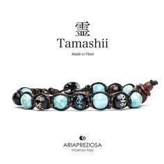 Tamashii - Bracciale originale tibetano realizzato con pietre naturali Turchese e legno orientale autentico con SIMBOLI MANTRA incisi a mano