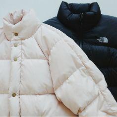 Ganni pink jacket / NorthFace black jacket
