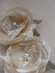 Bridai hair flowers Burlap Wedding hair accessory by LeFlowers, $34.00    This would be cute for the braidsmaids hair Tay!