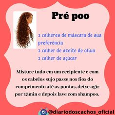 A imagem pode conter: 1 pessoa, texto Natural Hair Recipes, Hair Care Recipes, Pool Hairstyles, Curly Hair Styles, Natural Hair Styles, Hair Skin Nails, Hair Care Routine, Natural Hair Journey, How To Make Hair