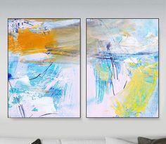 Abstract Art Print Set, 2 Aqua Blue Abstract, digital downloads, Printable Abstract, instant download, Ocean art, Art A1 size, Art set