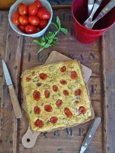 Tarte aux tomates cerise, basilique, féta et olive verte ( sans gluten, allégée ) kiwi-forme.net