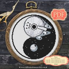 Yin Yang - Cross Stitch PDF Template - Star Wars XStitch - Death Star - Millennium Falcon - Wall Decor with Modern Embroidery Learn Embroidery, Hand Embroidery Stitches, Modern Embroidery, Cross Stitch Embroidery, Embroidery Designs, Simple Embroidery, Knitting Stitches, Embroidery Sampler, Embroidery Techniques
