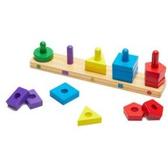 Melissa & Doug Stack and Sort Board (Wooden Educational Toy With 15 Solid Wood Pieces, Great Gift for Girls and Boys - Best for and 4 Year Olds) Toddler Toys, Kids Toys, Wooden Educational Toys, Puzzles For Toddlers, Toddler Puzzles, Stacking Toys, Wooden Shapes, Melissa & Doug, Montessori Toys