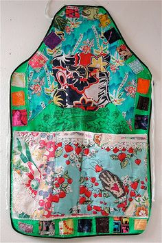 Upcycled APRON Vintage Fabrics Wearable Collage FOLK ART Green Recycled  mybonny